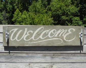 Welcome Sign, wooden, original , beach lake decor ZD W3