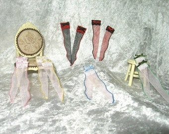 Pair stockings lace and tulle, socks dollhouse, pantyhose dollhouse, handmade miniature,lingerie dollhouse - Dollhouses Miniature scale 1:12