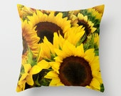 Bright yellow sunflowers photo pillow cover