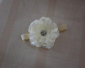 Ivory Peony Comb, headband or Clip with Rhinestone center
