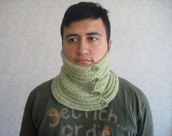 earthy soft green mens chunky cowl mens knit scarves neckwarmer unisex cowl Christmas gift for men women under 50, mens cowl with buttons