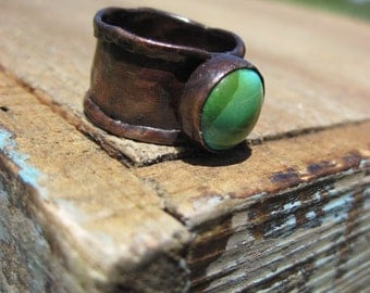 Turquosie and Copper Ring- Size 7