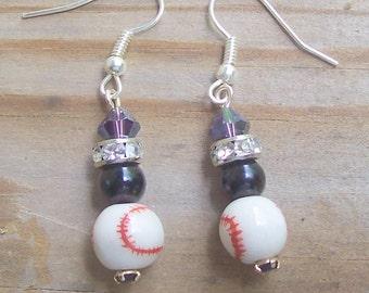 Purple and Black Baseball Earrings