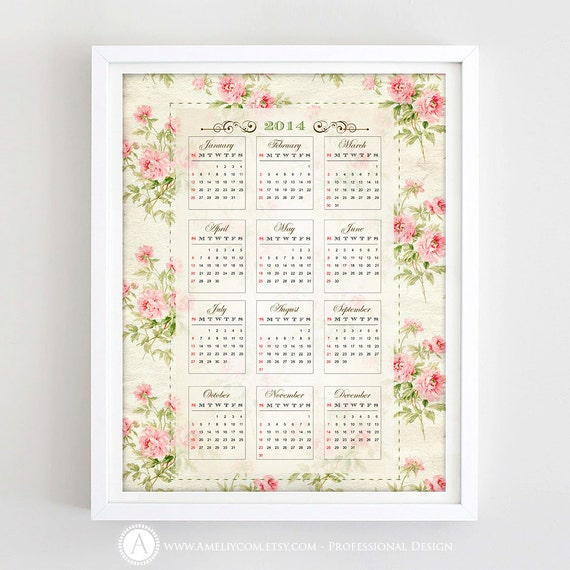 Items similar to printable calendar 2014 wall calendar retro items similar to printable calendar 2014 wall calendar retro calendar 85 x 11 vintage shabby chic calendar digital gift idea instant download on etsy solutioingenieria