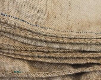 3 Rustic Natural Burlap Bags, jute, Vintage French country