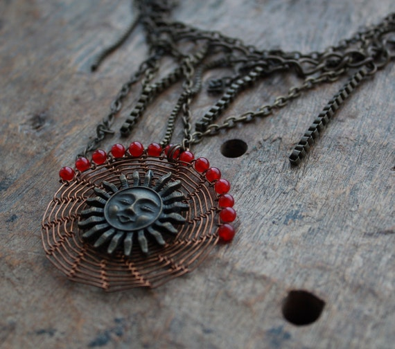 EL SOL Ethnic Pendant Long Chain Necklace/ Copper Wire Crocheted Sun Red Pendant