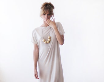 T-shirt midi length casual dress, Cream color short sleeves summer dress