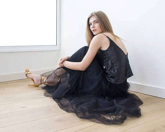 Tulle maxi black party skirt, Maxi tulle black skirt , Black maxi skirt