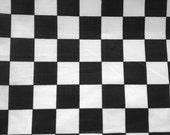 "Poly Cotton Checker Print Black/ White 60"" Fabric by the Yard - 1 Yard"