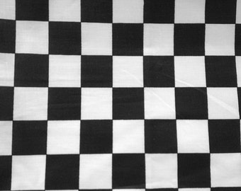 "Poly Cotton Checker Print Black/ White 60"" Fabric by the Yard - 1 Yard"
