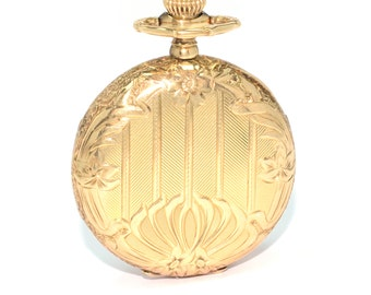 "Antique Circa 1910 14 K Yellow Gold ""Waltham"" Ladies Hand Engraved Pocket Watch"