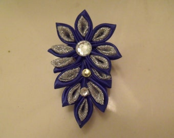 Kanzashi Blue and Silver Satin and Metallic Ribbon Brooch