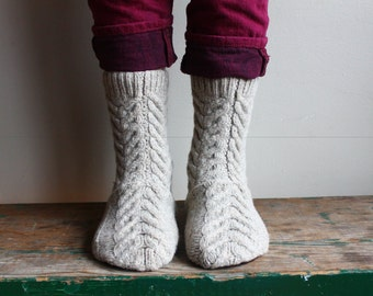 Women's Felted Wool Slippers, Slipper Socks with Leather Sole, Merino Wool Slippers,