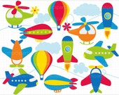 Vector Clipart - Up in the Air / Airplanes / Aviation / Air Transportation - Digital Clip Art (Instant Download)