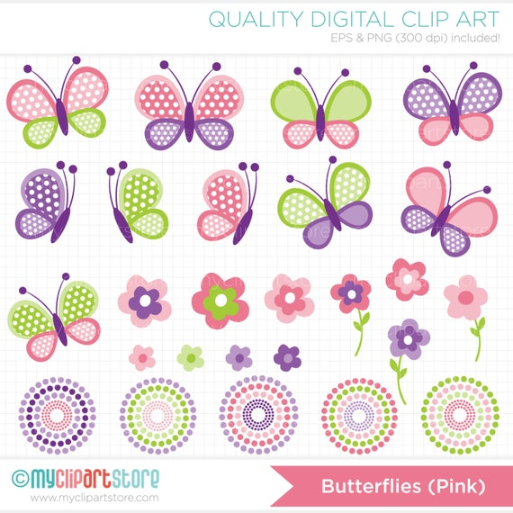clipart mothers day pink butterflies spring