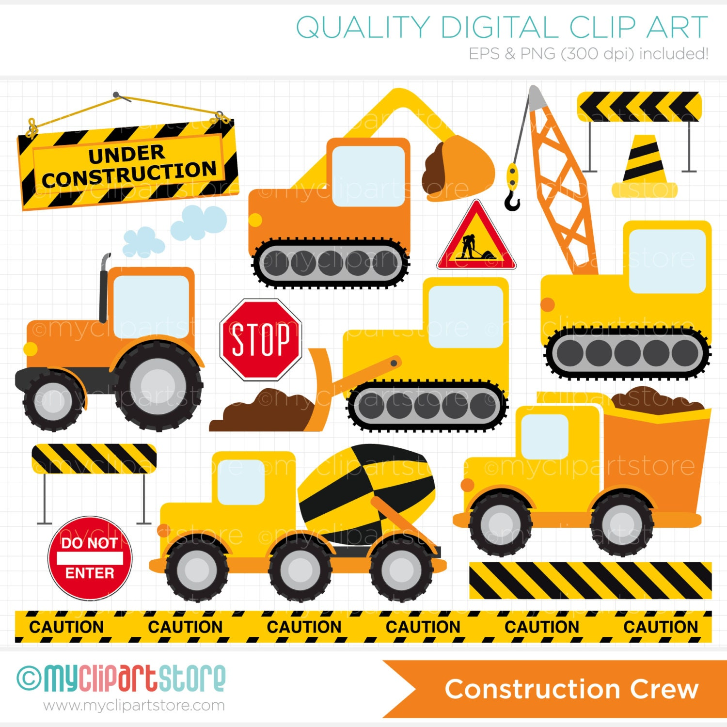 Clipart Transportation / YellowOrange Black / by MyClipArtStore