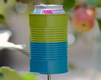 Two Tone Hobo Tin Can Beer Holder/ Garden Drink Holder- Avocado + Aqua