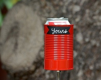 Red Chalk Up Hobo Tin Can Beer Holder, Chalkboard Garden Drink Holder, Unique Valentines Gift