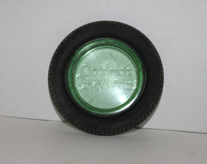Vintage 1930s Goodrich Silvertowns Tire Ashtray, Green Glass