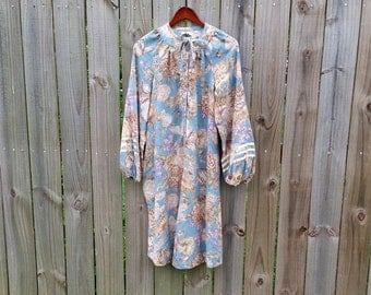 S M L Small Medium Large Vintage 60s 70s Jonathan Logan Label Floral Print Hippie Indie Hipster Boho Shift Tent Poet Sleeves Dress