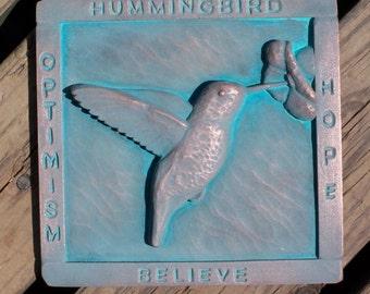 Hummingbird copper garden plaque