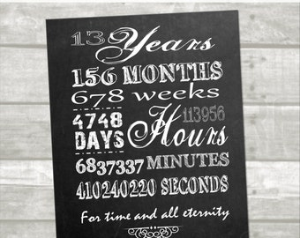 INSTANT DOWNLOAD: Chalkboard Anniversary Printable, Thirteenth Anniversary,13 Year Digital File