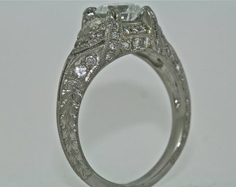 Platinum and Diamonds Vintage Style Hand Engraved Engagement Ring with 1.00ct White Sapphire Center