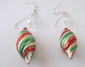 Celebrate Christmas/ Colorful Swirl Earrings/ Dangle earrings/  Ladies Earrings