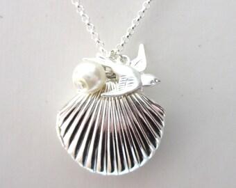 Silver Sea Shell Locket, Mermaid Necklace, Mermaid Wedding, Tiny Swallow, Silver Plated, Little Shell Locket, Nautical Jewelry, Gift Box
