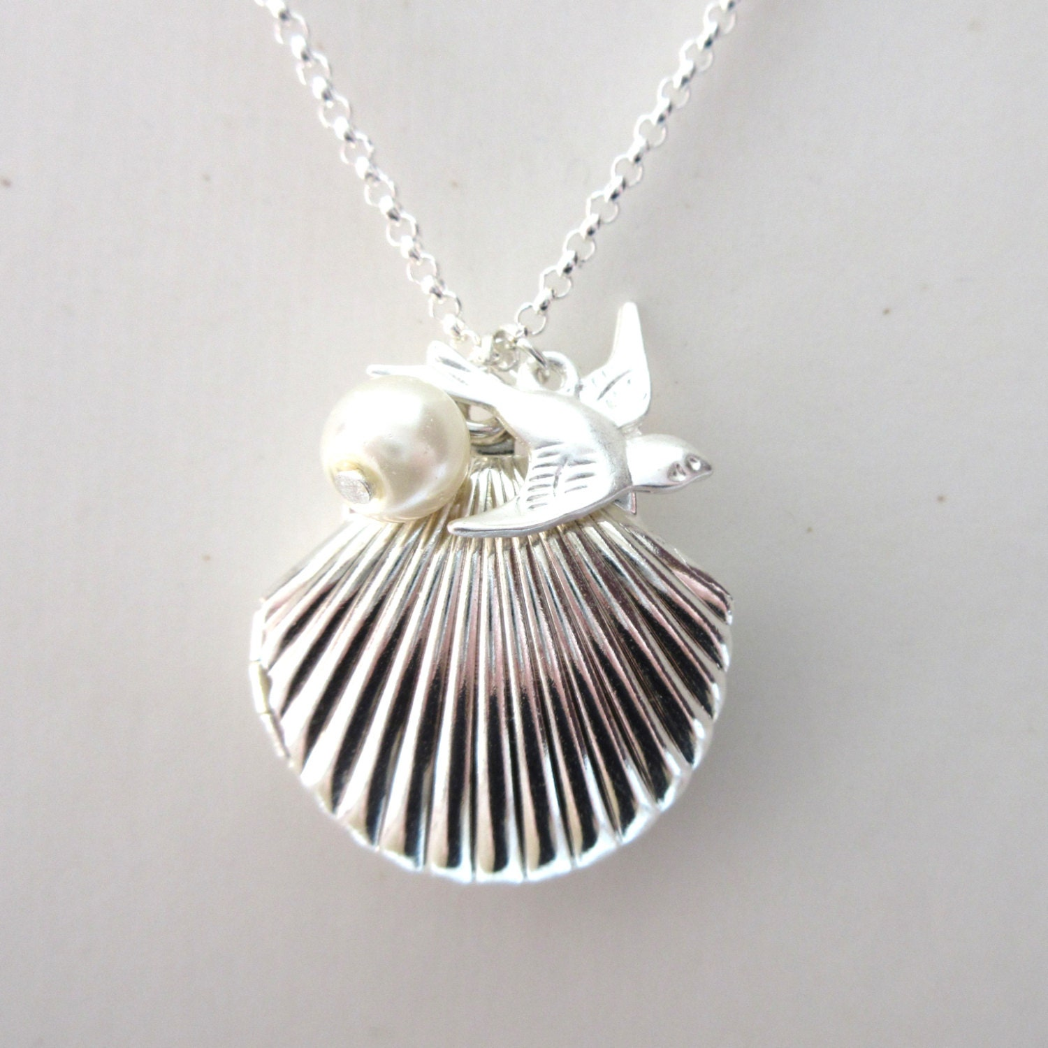 Silver sea shell locket mermaid necklace mermaid wedding for Sell gold jewelry seattle