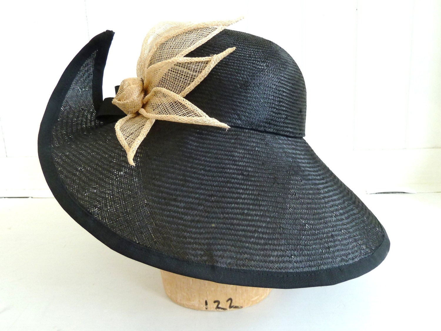 wide brim black straw hat for womans big brim by
