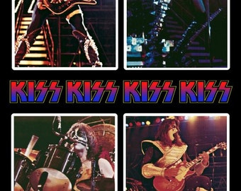 KISS Double Platinum 8 x 10 Photo Set Stand-Up Display - Rock Band Music Collectibles Collection Collector Memorabilia Gift Idea KISS Army