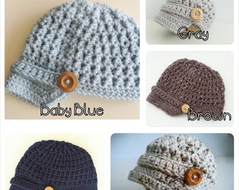 Newsboy Baby Boy Hat, Baby Hat, Crochet Baby Boy Hat, Newborn Photo Prop