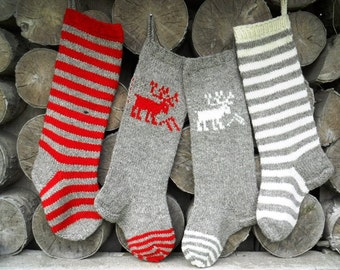 Christmas Stocking Personalized Hand knit Wool Grey Red White Cranberry Red  Deer Stripes Personalized Christmas decoration Christmas gift