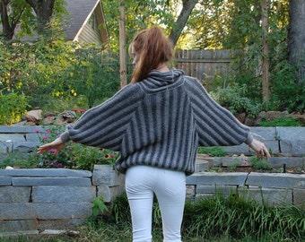 SALE Gray small striped bat wing knit alpaca oversized boatneck sweater