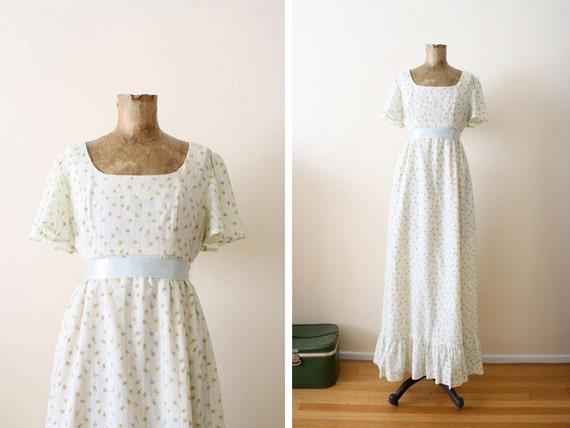1970s dress / maxi dress / bohemian wedding dress / small