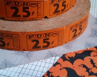 2 Dozen Vintage FUN Orange Halloween Carnival Tickets