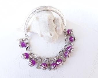 Plum Purple Bracelet, Charm Bracelet, Silver Bracelet, Stones Bracelet,