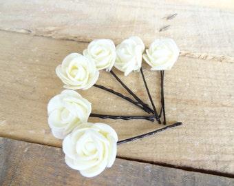 Ivory  Rose Wedding Hair Pins, Ivory Bridal Hair Pins, Hair Accessories, Bridesmaid Hair, Woodland - Set of 8