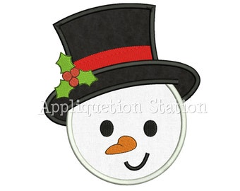 Snowman Head Applique Machine Embroidery Design Christmas Holiday INSTANT DOWNLOAD