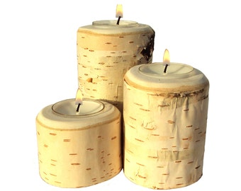Birch Candle Set, Birch Bark Candle, Birch Candles, Birch Tiered Candle Set