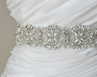 Wedding Sash Rhinestone Pearl Wedding Sash Swarovski