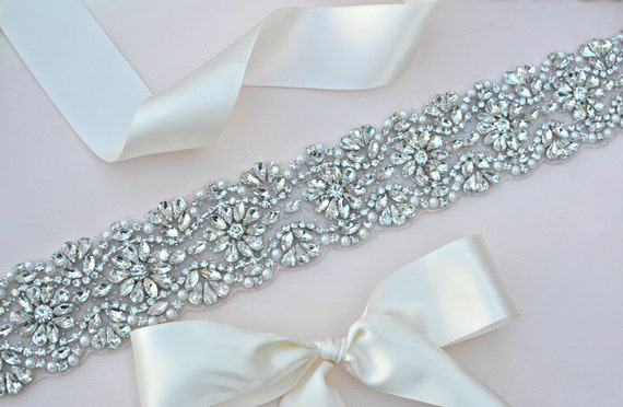 Wedding Sash Swarovski Rhinestone Pearl Wedding Sash