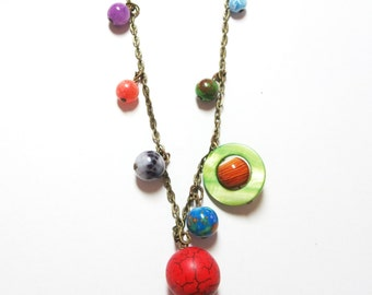 Solar System necklace - Space jewelry  -Planets Necklace -Galaxy necklace, and free gift