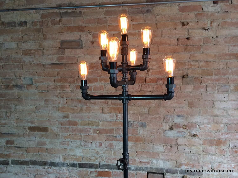 Floor Lamp Multiple Edison Bulb Industrial Style Iron