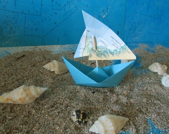 paper boat origami decoration photo prop art supply lot of 10 sail boats maps atlas