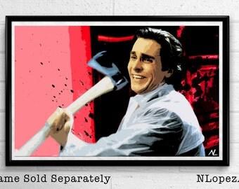 Patrick Bateman American Psycho Movie Pop Art Film Poster Print #1 Canvas
