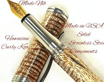 Custom Wooden Pen  Hand Turned Custom Fountain Pen Hawaiian Curl Koa and Made In USA Stainless Steel Hardware 683FPSSF