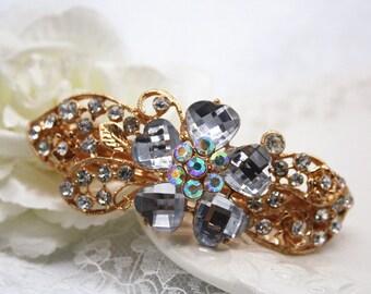flower crystal hairpiece Bridal headpiece gold filigree rhinestone sparkle floral hairclip wedding barrette jewellery accessory bridesmaid