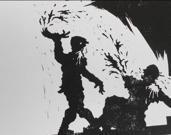 Zombie Attack Of A Holy Man -  Silhouette Linocut Print